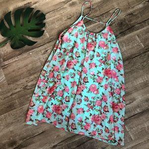 FTC Aqua Green & Pink Floral Float Dress & bandeau